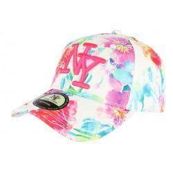 Casquette NY Blanche et Rose à Fleurs Baseball Fashion Bali CASQUETTES Hip Hop Honour