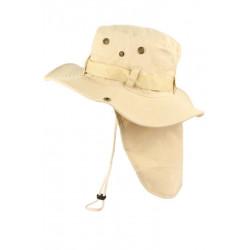 Chapeau Bob Safari Beige Marron Clair Lien Serrage et Protege Nuque Bob Safari Nyls Création
