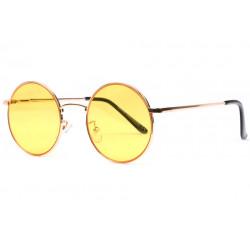 Lunettes de Soleil Ronde Jaune et Doree tendance Obladi LUNETTES SOLEIL Eye Wear