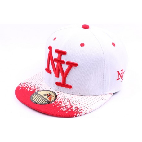 Casquette Snapback NY blanche et rouge façon Tag