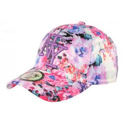 Casquette NY Violette et Rose a Fleurs Baseball Fashion Spring CASQUETTES Hip Hop Honour
