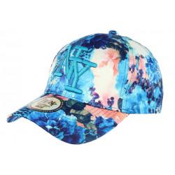 Casquette NY Bleu et Beige Florale Fashion Baseball Spring CASQUETTES Hip Hop Honour