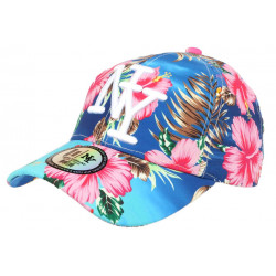 Casquette Enfant Bleue Fleurs Roses Tropicales Baseball NY Hawai de 7 a 12 ans ANCIENNES COLLECTIONS divers