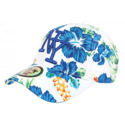 Casquette Enfant Blanche Fleurs Bleues Tropicales Baseball NY Hawai de 7 a 12 ans Casquette Enfant Hip Hop Honour