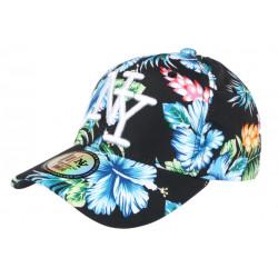 Casquette NY Noire et Bleue a Fleurs Exotiques Baseball Hawai CASQUETTES Hip Hop Honour