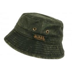 Chapeau Bob Von Dutch Vert Kaki Coton Esprit Cuir Vintage BOB VON DUTCH