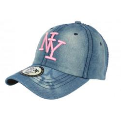 Casquette NY Bleu et Rose Denim Jeans Tendance Baseball Chyca CASQUETTES Hip Hop Honour