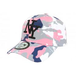 Casquette Enfant Camouflage Rose et Bleue Baseball NY Militaire Marchy 7 a 12 ans Casquette Enfant Hip Hop Honour