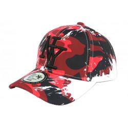 Casquette Enfant Camouflage Rouge et Noire Baseball NY Militaire Marchy 7 a 12 ans Casquette Enfant Hip Hop Honour