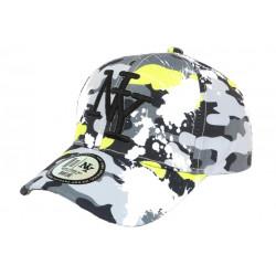 Casquette Enfant Camouflage Vert Anis et Grise Baseball NY Militaire Marchy 7 a 12 ans Casquette Enfant Hip Hop Honour
