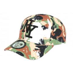 Casquette Enfant Camouflage Marron et Verte Baseball NY Militaire Marchy 7 a 12 ans Casquette Enfant Hip Hop Honour