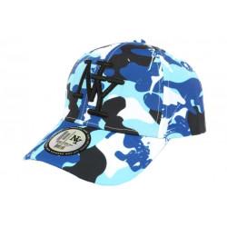 Casquette Enfant Camouflage Bleue et Blanche Baseball NY Militaire Marchy 7 a 12 ans Casquette Enfant Hip Hop Honour