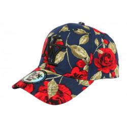 Casquette Enfant bleue Fleurs Rouges Baseball NY Bora de 7 à 12 ans Casquette Enfant Hip Hop Honour