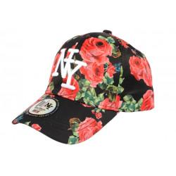 Casquette Enfant Noire Fleurs Rouges Baseball NY Bali de 7 à 12 ans Casquette Enfant Hip Hop Honour