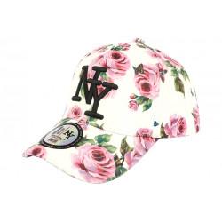 Casquette Enfant Blanche Fleurs Roses Baseball NY Bali de 7 à 12 ans Casquette Enfant Hip Hop Honour