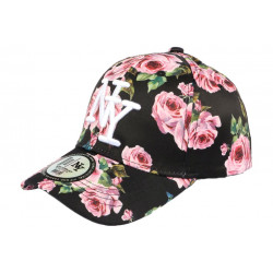 Casquette Enfant Noire Fleurs Roses Baseball NY Bali de 7 à 12 ans Casquette Enfant Hip Hop Honour