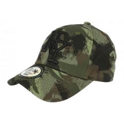 Casquette NY Camouflage Armee Fashion Vert et Noir Baseball Warry CASQUETTES Hip Hop Honour