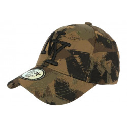 Casquette NY Camouflage Armee Fashion Marron Kaki et Noire Baseball Warry CASQUETTES Hip Hop Honour