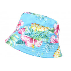 Chapeau Bob Bleu Ciel Fleurs Rouges Tropicales Hawai Fashion BOB Hip Hop Honour