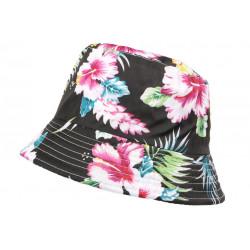 Chapeau Bob Noir Fleurs Rouges et Bleues Tropicales Hawai Fashion BOB Hip Hop Honour