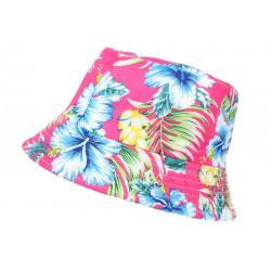 Chapeau Bob Rose Fleurs Bleues et Jaunes Tropicales Hawai Tendance BOB Hip Hop Honour
