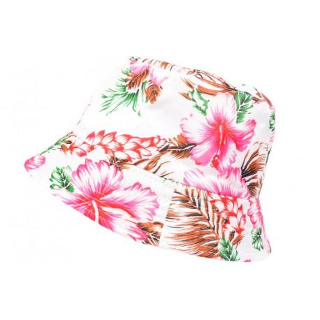 Chapeau Bob Blanc Fleurs Roses et Vertes Tropicales Hawai Tendance BOB Hip Hop Honour