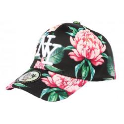 Casquette Enfant Noire Fleurs Roses Fashion Baseball NY Capri de 7 à 12 ans Casquette Enfant Hip Hop Honour