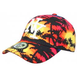 Casquette NY Rouge et Jaune Tropical Beach Night Baseball Fashion CASQUETTES Hip Hop Honour