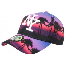 Casquette NY Violette et Rouge Tropical Beach Night Baseball Fashion CASQUETTES Hip Hop Honour
