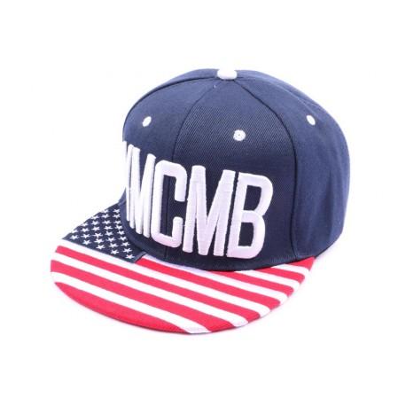 Casquette Snapaback YMCMB bleu façon drapeau US