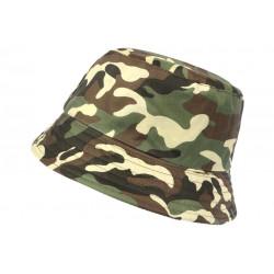 Chapeau Bob Militaire Vert et Marron Camouflage Armee Tendance Boby BOB Hip Hop Honour