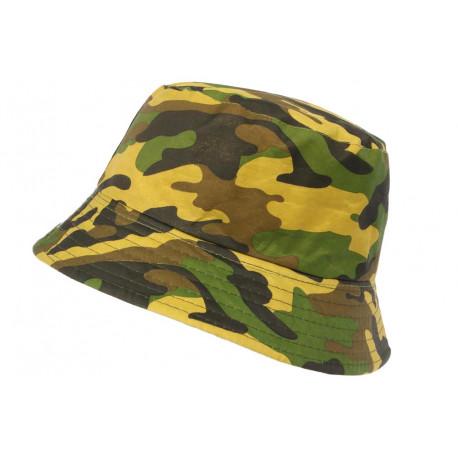 Chapeau Bob Militaire Jaune et Vert Camouflage Armee Tendance Boby BOB Hip Hop Honour