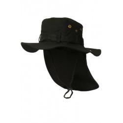 Chapeau Bob Safari Noir Lien Serrage et Protege Nuque Bob Safari Nyls Création
