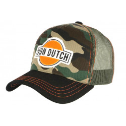 Casquette Von Dutch Camouflage Vert et Orange Custom Baseball Aban CASQUETTES VON DUTCH