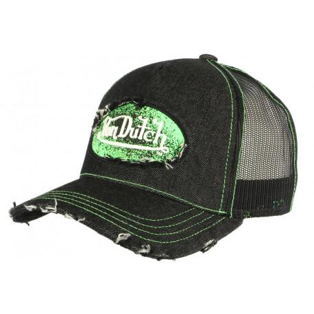 Casquette Von Dutch Noire Patch Vert Fluo Trucker Baseball Adri CASQUETTES VON DUTCH
