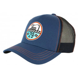 Casquette Von Dutch Bleue Filet Noir Custom Baseball Adam 29 CASQUETTES VON DUTCH