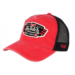 Casquette Von Dutch Rouge Filet Noir Custom Baseball Air Force Top CASQUETTES VON DUTCH