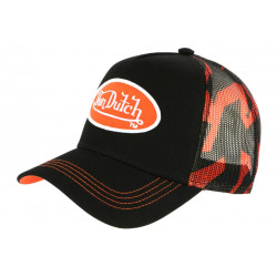 Casquette Von Dutch Orange et Noire Trucker Baseball Abob CASQUETTES VON DUTCH