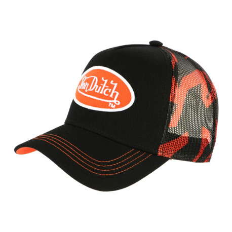 Casquette Von Dutch Orange et Noire Trucker Baseball Abob CASQUETTES VON DUTCH