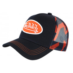 Casquette Von Dutch Bleu Marine et Orange Trucker Baseball Abob CASQUETTES VON DUTCH