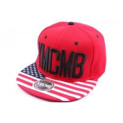 Casquette Snapback YMCMB Rouge et visière façon drapeau US