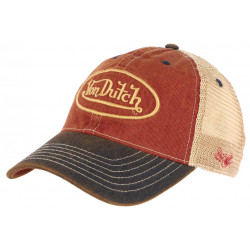 Casquette Von Dutch Rouge Filet Beige Vintage Baseball Trucker Mac CASQUETTES VON DUTCH
