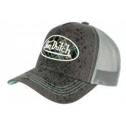 Casquette Von Dutch Grise et Bleue Originale Baseball Custom Aspa CASQUETTES VON DUTCH