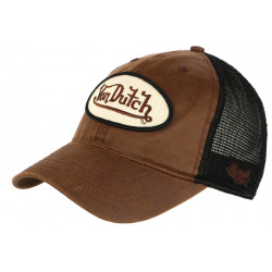 Casquette Von Dutch Marron Cuir Baseball Filet Noir Pete CASQUETTES VON DUTCH