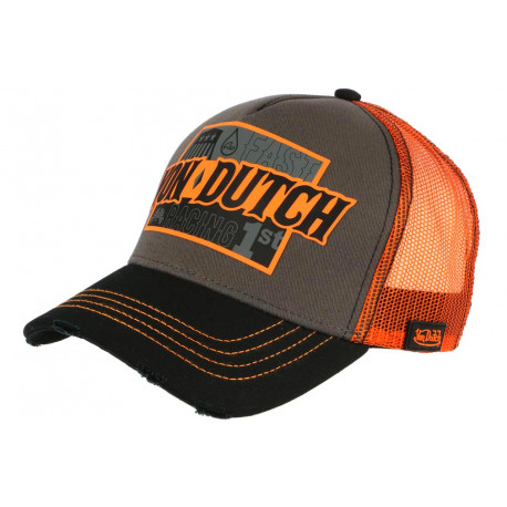 Casquette Von Dutch Orange et Grise Fast Racing Baseball Arac CASQUETTES VON DUTCH