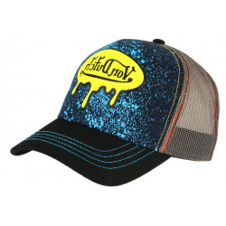 Casquette Von Dutch Bleue et Jaune Fashion Trucker Baseball Amel CASQUETTES VON DUTCH