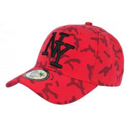 Casquette NY Camouflage Rouge et Noire Tendance Baseball Kaska CASQUETTES Hip Hop Honour