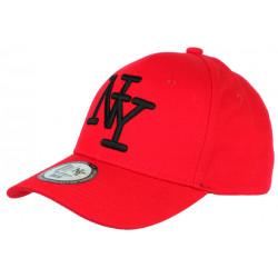 Casquette NY Rouge et Noire Tendance Visiere Baseball Sticker Original Stazky CASQUETTES Hip Hop Honour