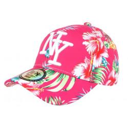 Casquette Enfant Rose Fleurs Blanches Tropicales Baseball NY Hawai de 7 a 12 ans ANCIENNES COLLECTIONS divers