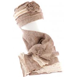 Bonnet echarpe beige en laine bouillie Mona BONNETS Léon montane